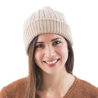Handcrafted Alpaca 'Tan Mountain Roads' Hat (Peru)