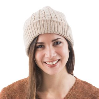 Handmade Alpaca 'Tan Mountain Roads' Hat (Peru)