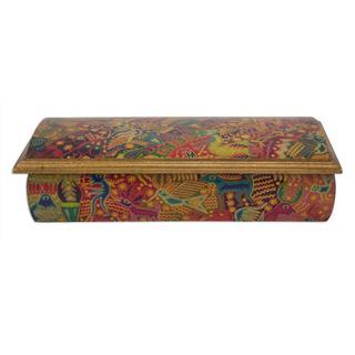 Handmade Decoupage 'Huichol Fiesta' Jewelry Box (Mexico)