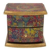Handmade Decoupage 'Huichol Vision' Jewelry Box (Mexico)