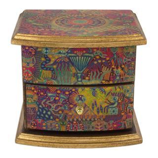 Handmade Decoupage 'Huichol Vision' Jewelry Box (Mexico) (As Is Item)