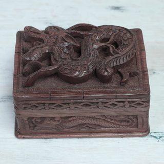 Handcrafted Walnut Wood 'Brave Dragon' Jewelry Box (India)