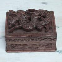 Handmade Walnut Wood 'Brave Dragon' Jewelry Box (India)