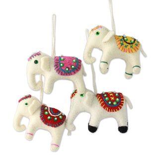 Set of 4 Handmade Wool 'White Elephants' Ornaments (India)