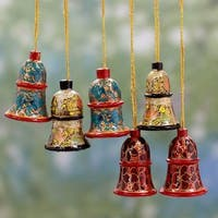 Set of 6 Handmade Weeping Willow Wood 'Celebration' Ornaments (India)