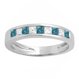Elora 10k Gold 3/4ct TDW Princess-cut Blue and White Diamond Wedding Ring (I-J, I1-I2)