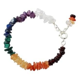 Handmade Sterling Silver 'Peaceful Mantra' Multi-gemstone Bracelet (India)