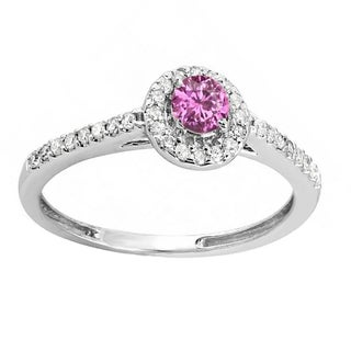 Elora 10k White Gold 1/2ct TGW Round-cut Pink Sapphire and Diamond Accent Halo Engagement Ring (H-I, I1-I2)