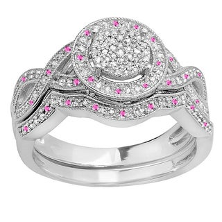 Elora Sterling Silver 1/2ct TGW Round Pink Sapphire and Diamond Accent Micro Pave Bridal Ring Set (I-J, I2-I3)