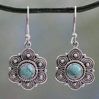 Handcrafted Sterling Silver 'Day of Romance' Turquoise Earrings (India)