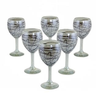 Set of 6 Handcrafted Blown Glass 'Brown Swirling Web' Wine Glasses (Mexico)