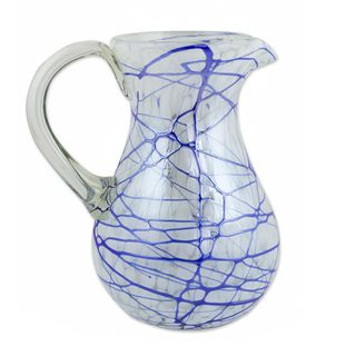 Handcrafted Blown Glass 'Blue Swirling Web' Pitcher (Mexico)