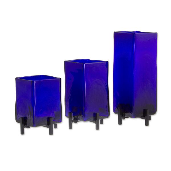 Handmade Blown Blue Hurricane Glass Vases, Set of 3 (Mexico)