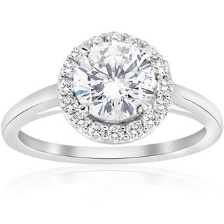 14k White Gold 1 3/4 ct TDW Diamond Halo Vintage Engagement Anniversary Ring