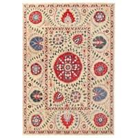 Handmade Herat Oriental Afghan Vegetable Dye Suzani Wool Rug - 8'7 x 12'2 (Afghanistan)