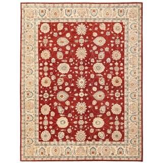 Herat Oriental Afghan Hand-knotted Vegetable Dye Oushak Wool Rug (9'2 x 11'10)