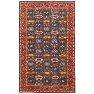 Herat Oriental Afghan Hand-knotted Vegetable Dye Turkoman Wool Rug (8' x 13'7)