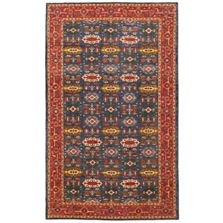 Herat Oriental Afghan Hand-knotted Vegetable Dye Turkoman Wool Rug (8' x 13'7)