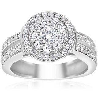 10k White Gold 1ct TDW Double Halo Diamond Engagement Ring