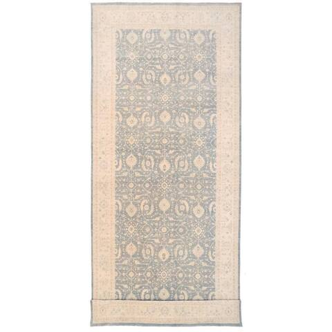 Herat Oriental Afghan Hand-knotted Vegetable Dye White Wash Oushak Wool Runner (9'9 x 24'2) - 9'9 x 24'2