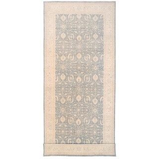 Herat Oriental Afghan Hand-knotted Vegetable Dye White Wash Oushak Wool Runner (9'9 x 24'2)