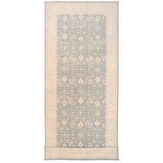Herat Oriental Afghan Hand-knotted Vegetable Dye White Wash Oushak Wool Runner (9'9 x 24'2) - 9'9 x 24'2