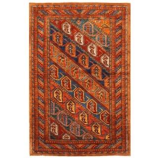 Herat Oriental Afghan Hand-knotted Vegetable Dye Kazak Wool Rug (4'3 x 6'7)