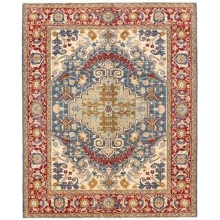 Herat Oriental Afghan Hand-knotted Vegetable Dye Serapi Wool Rug (8'1 x 10'2)