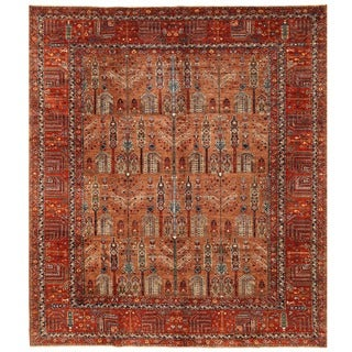 Herat Oriental Afghan Hand-knotted Vegetable Dye Bakhtiari Wool Rug (8'5 x 9'7)