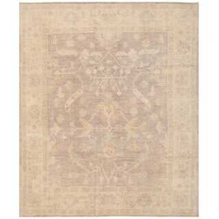 Herat Oriental Afghan Hand-knotted Vegetable Dye White Wash Oushak Wool Rug (8'2 x 9'9)