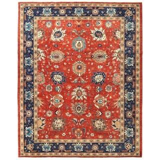 Herat Oriental Afghan Hand-knotted Vegetable Dye Tabriz Wool Rug (9' x 11'6)