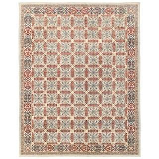 Herat Oriental Afghan Hand-knotted Vegetable Dye Khotan Wool Rug (9' x 11'6)