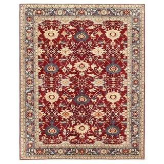 Herat Oriental Afghan Hand-knotted Vegetable Dye Oushak Wool Rug (9'2 x 11'7)