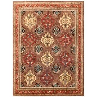 Herat Oriental Afghan Hand-knotted Vegetable Dye Kazak Wool Rug (9'4 x 12'6)