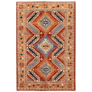 Herat Oriental Afghan Hand-knotted Vegetable Dye Kazak Wool Rug (3'11 x 5'10)