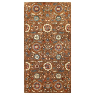 Herat Oriental Afghan Hand-knotted Vegetable Dye Suzani Wool Rug (4'10 x 9'6)