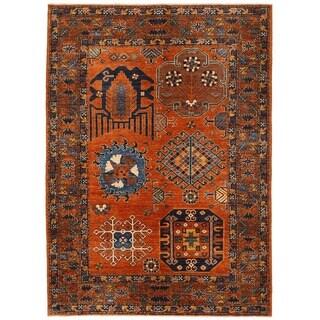 Handmade Herat Oriental Afghan Vegetable Dye Kazak Wool Rug - 5'8 x 7'11 (Afghanistan)