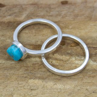 Set of 2 Handcrafted Sterling Silver 'Sky Glow' Turquoise Stacking Rings (Mexico)