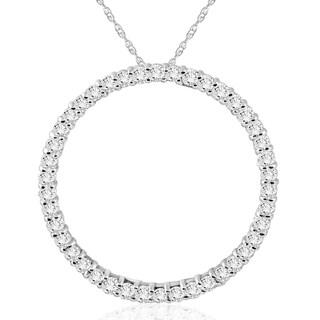 14k White Gold 1ct TDW Diamond Circle Pendant