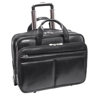McKlein USA Bowery Rolling Black Leather 15.6-inch Laptop Case