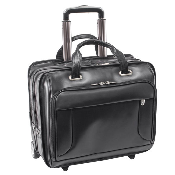 Shop McKlein USA Greenwich Black Leather Rolling 15.6-inch Laptop ... 7164aaa6cb30a