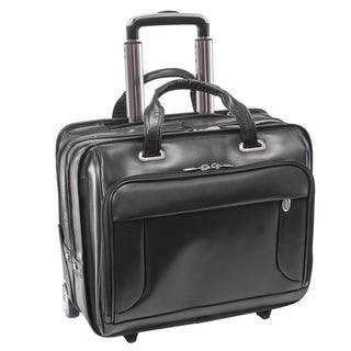 McKlein USA Greenwich Black Leather Rolling 15.6-inch Laptop Case