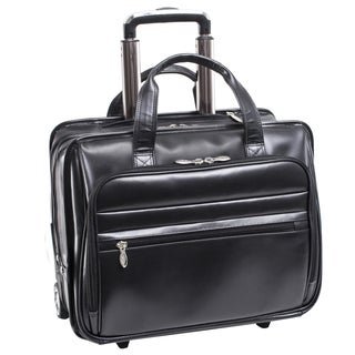 McKlein USA Midtown Black Leather 15.6-inch Rolling Laptop and Tablet Case