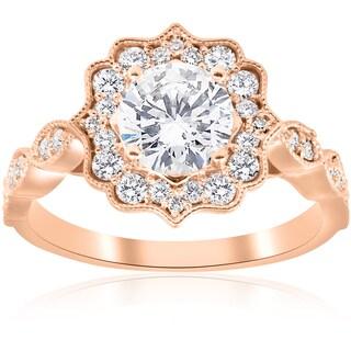 14k Rose Gold 1 3/8 ct TDW Diamond Clarity Enhanced Vintage Halo Engagement Ring (H-I,I1-I2)
