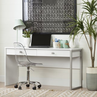 South Shore Interface Desk with 2 Drawers, Pure White