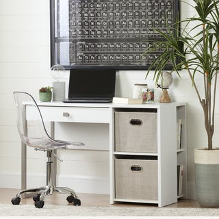 South Shore Interface Pure White Desk with Storage and Baskets