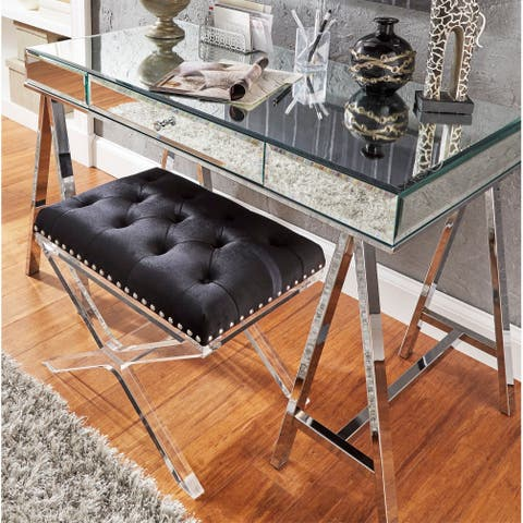 Neron 1-Drawer Mirrored Chrome Sawhorse Desk by iNSPIRE Q Bold