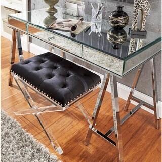Neron 1-Drawer Mirrored Chrome Sawhorse Desk by iNSPIRE Q Bold
