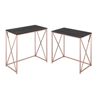 Acme Furniture Deona 2-Piece Pack Desk Set, Weathered Dark Gray and Rose Copper