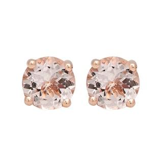 Elora 14k Rose Gold 3/8ct TGW Round-cut Morganite Solitaire Stud Earrings
